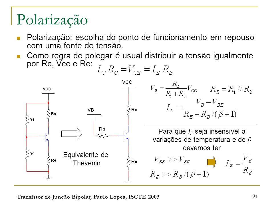Transístor de Junção Bipolar, Paulo Lopes, ISCTE 2003 21 Polarização Polarização: escolha do ponto de funcionamento em repouso com uma fonte de tensão.