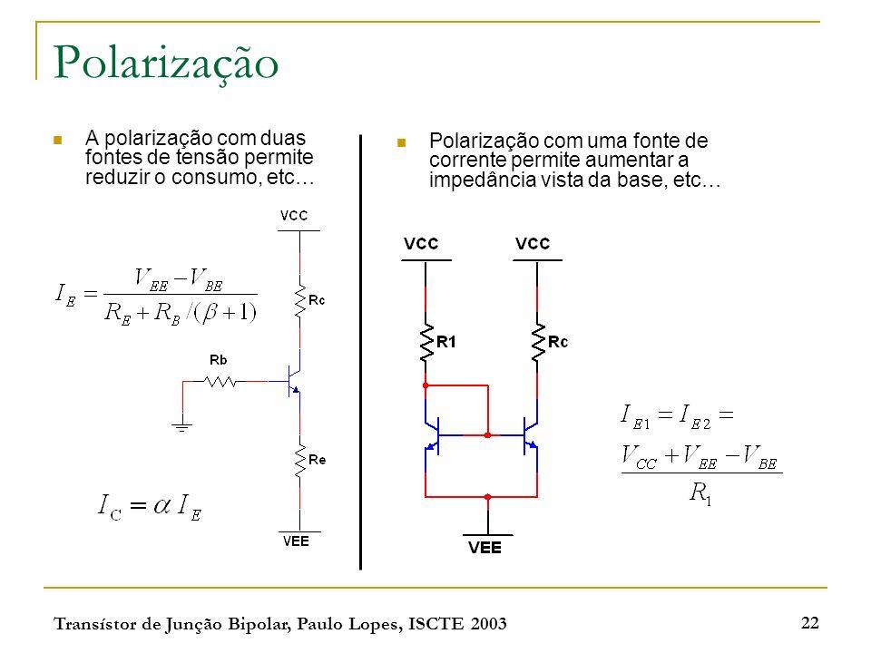 Transístor de Junção Bipolar, Paulo Lopes, ISCTE 2003 22 Polarização A polarização com duas fontes de tensão permite reduzir o consumo, etc… Polarização com uma fonte de corrente permite aumentar a impedância vista da base, etc…