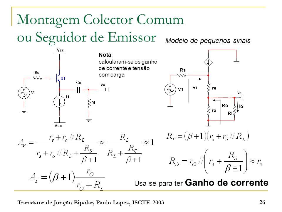 Transístor de Junção Bipolar, Paulo Lopes, ISCTE 2003 26 Montagem Colector Comum ou Seguidor de Emissor Rs V1 Vo Rl re ro Modelo de pequenos sinais Ri