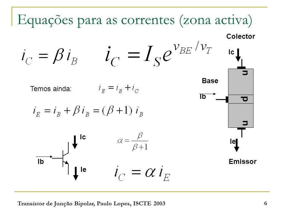 Transístor de Junção Bipolar, Paulo Lopes, ISCTE 2003 6 Equações para as correntes (zona activa) np n Emissor Colector Base Ic Ie Ib Ie Ic Temos ainda