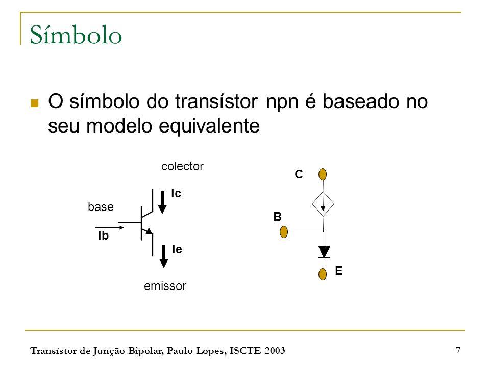 Transístor de Junção Bipolar, Paulo Lopes, ISCTE 2003 7 Símbolo O símbolo do transístor npn é baseado no seu modelo equivalente Ib Ie Ic emissor colector base B E C