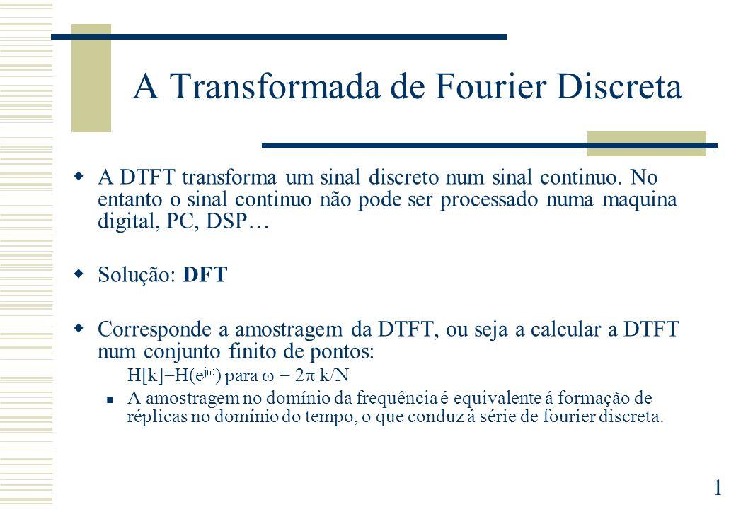 2 A Transformada de Fourier Discreta Existe uma correspondência entre sequências finitas e sequências periódicas A Transformada de Fourier Discreta de uma sequência finita, corresponde à Transformada de Fourier da Sequência periódica obtida por repetição da sequência finita Série de Fourier (DFS) Transformada de Fourier (DTFT) Transformada de Fourier Discreta (DFT)