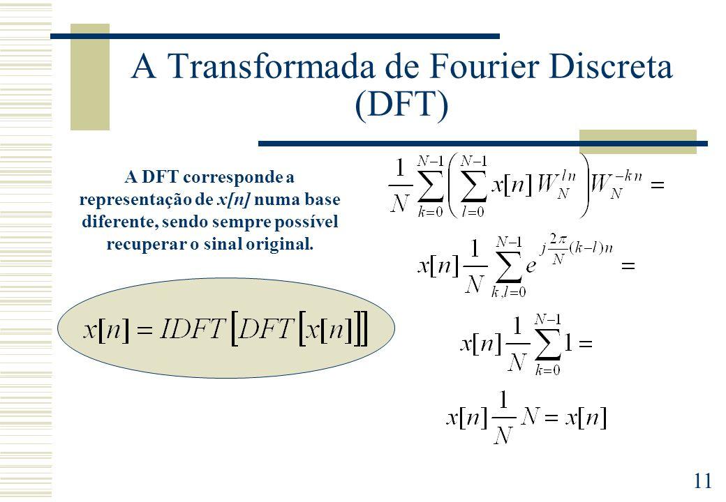 11 A Transformada de Fourier Discreta (DFT) A DFT corresponde a representação de x[n] numa base diferente, sendo sempre possível recuperar o sinal original.