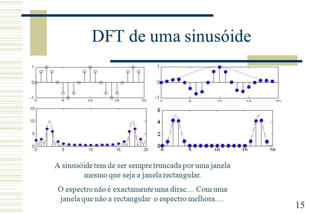 15 DFT de uma sinusóide A sinusóide tem de ser sempre truncada por uma janela mesmo que seja a janela rectangular.