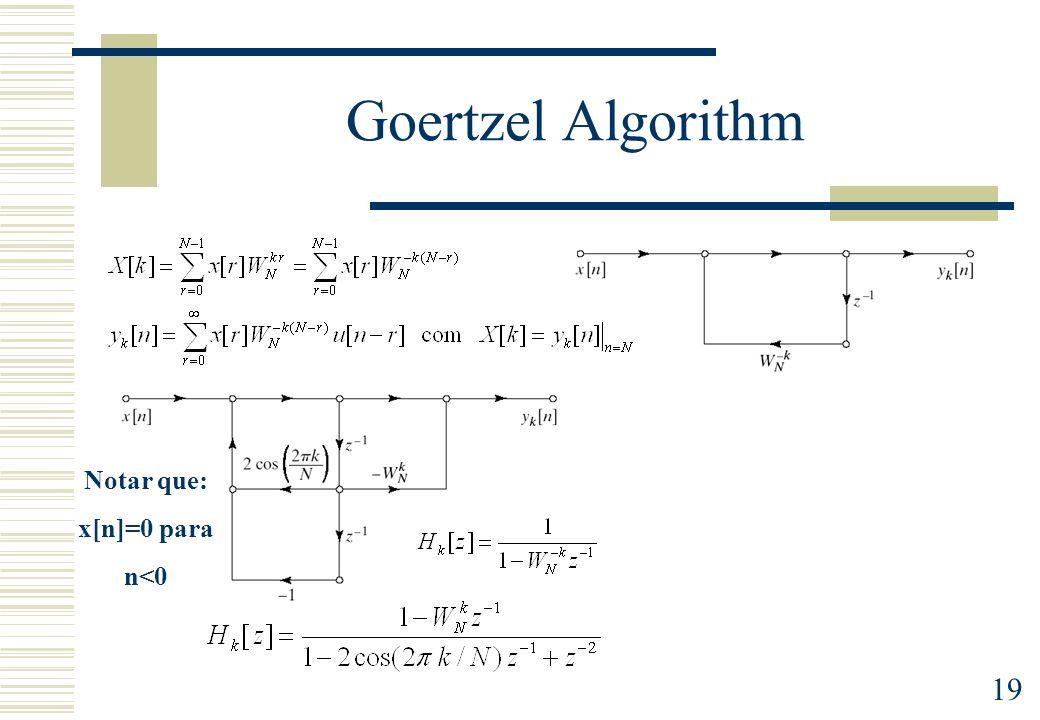 19 Goertzel Algorithm Notar que: x[n]=0 para n<0