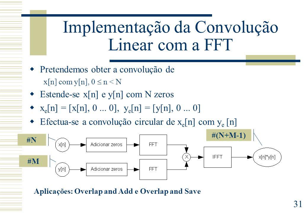 31 Implementação da Convolução Linear com a FFT Pretendemos obter a convolução de x[n] com y[n], 0 n < N Estende-se x[n] e y[n] com N zeros x e [n] = [x[n], 0...