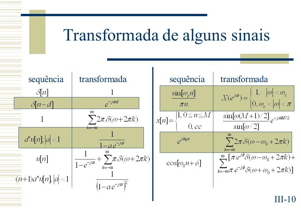 III-10 Transformada de alguns sinais sequênciatransformadasequênciatransformada