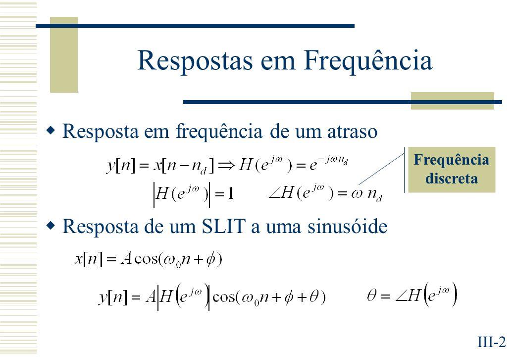 III-2 Respostas em Frequência Resposta em frequência de um atraso Resposta de um SLIT a uma sinusóide Frequência discreta