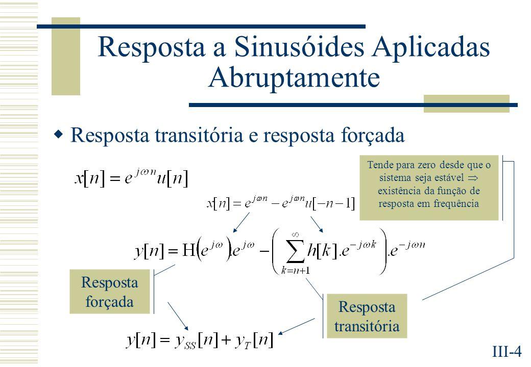 III-4 Resposta a Sinusóides Aplicadas Abruptamente Resposta transitória e resposta forçada Resposta forçada Resposta transitória Tende para zero desde que o sistema seja estável existência da função de resposta em frequência