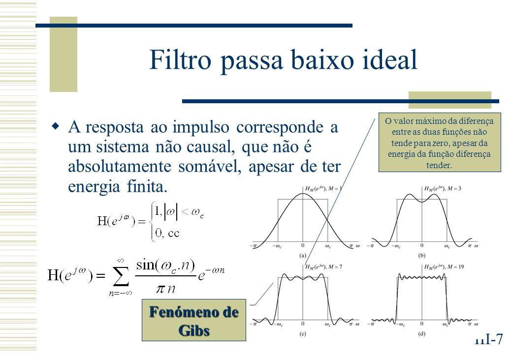 III-7 Filtro passa baixo ideal A resposta ao impulso corresponde a um sistema não causal, que não é absolutamente somável, apesar de ter energia finita.