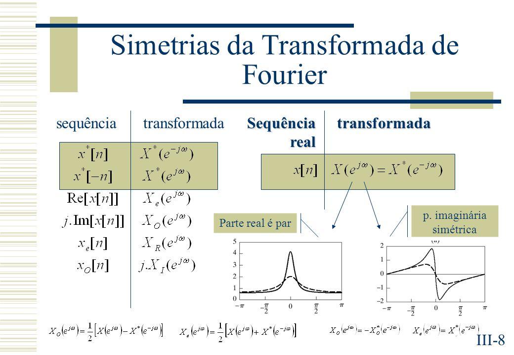III-8 Simetrias da Transformada de Fourier sequênciatransformada Sequência real transformada Parte real é par p.