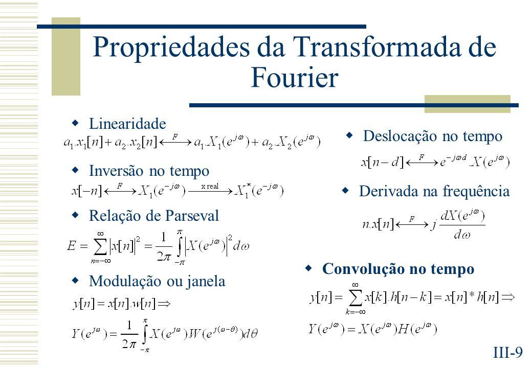 III-9 Propriedades da Transformada de Fourier Deslocação no tempo Inversão no tempo Derivada na frequência Relação de Parseval Convolução no tempo Modulação ou janela Linearidade