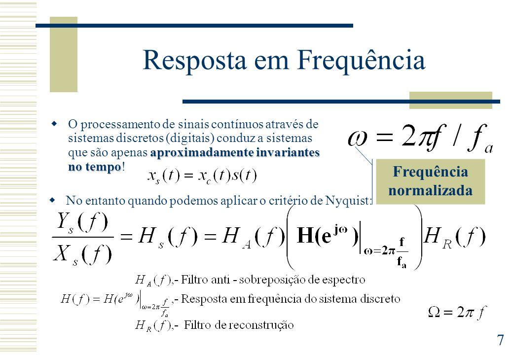 7 Frequência normalizada Resposta em Frequência aproximadamente invariantes no tempo O processamento de sinais contínuos através de sistemas discretos