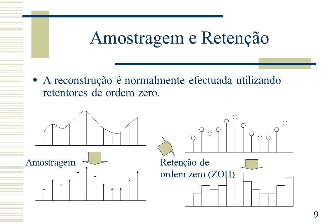 9 Amostragem e Retenção A reconstrução é normalmente efectuada utilizando retentores de ordem zero. AmostragemRetenção de ordem zero (ZOH)