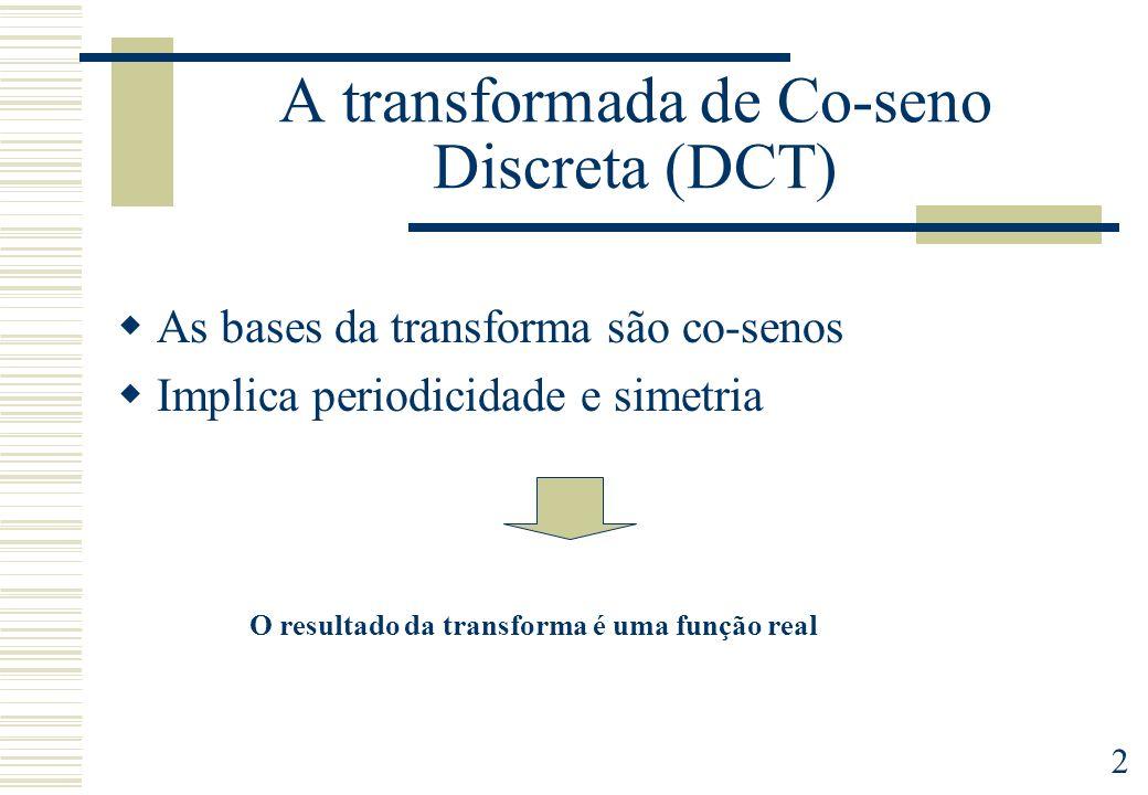 2 A transformada de Co-seno Discreta (DCT) As bases da transforma são co-senos Implica periodicidade e simetria O resultado da transforma é uma função real