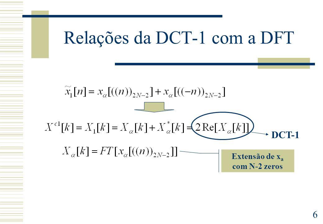 7 Relações da DCT-2 com a DFT Extensão de x a com N zeros DCT-2