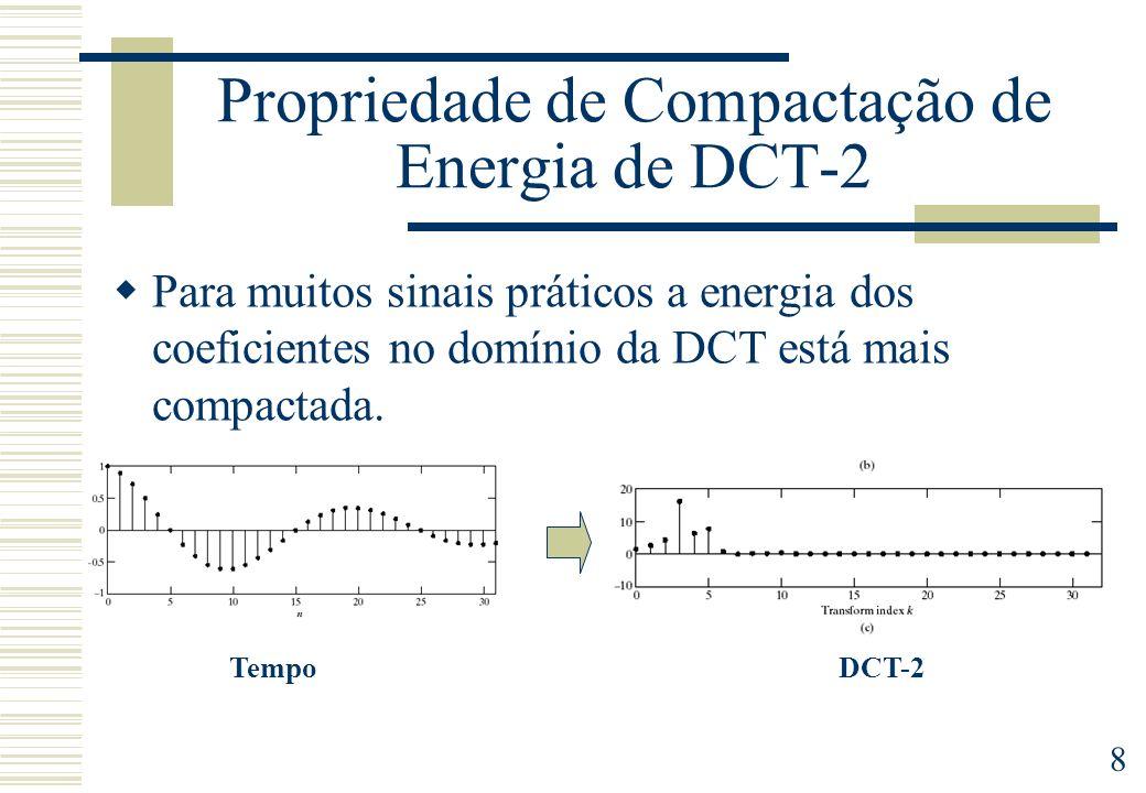 8 Propriedade de Compactação de Energia de DCT-2 Para muitos sinais práticos a energia dos coeficientes no domínio da DCT está mais compactada.