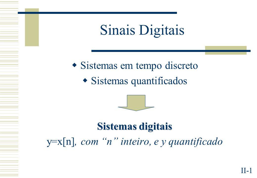II-1 Sinais Digitais Sistemas em tempo discreto Sistemas quantificados Sistemas digitais y=x[n], com n inteiro, e y quantificado