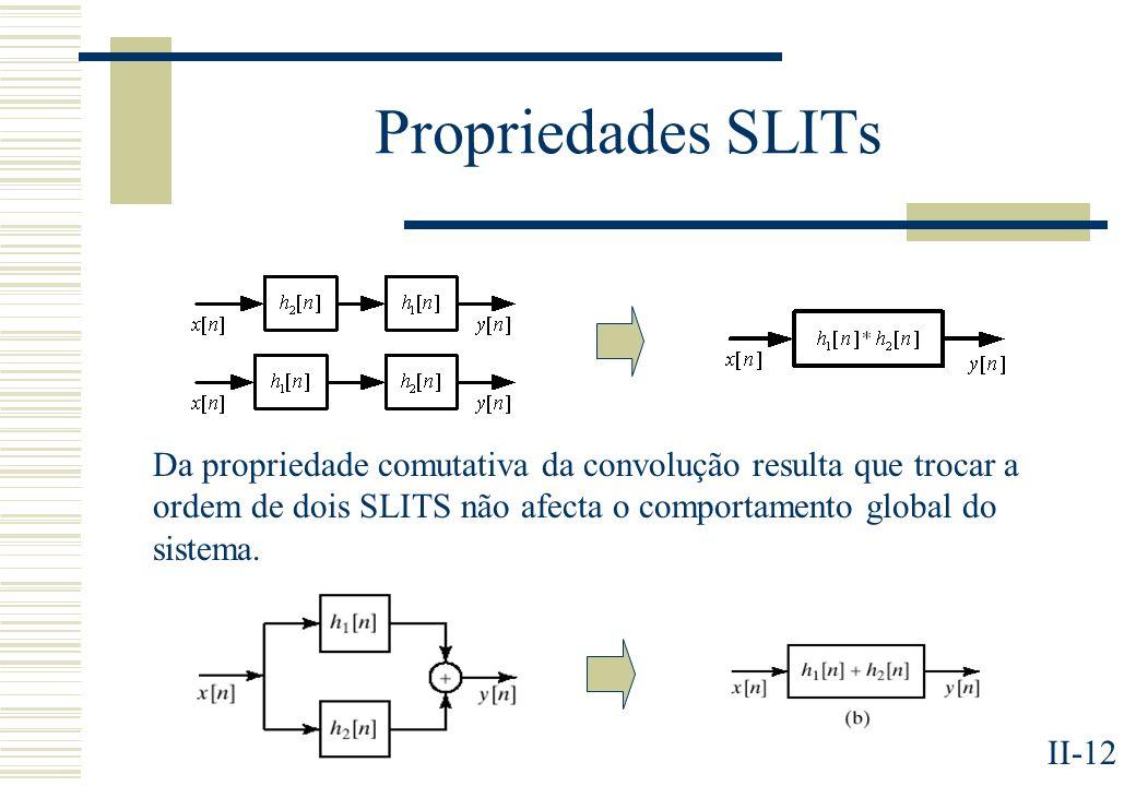 II-12 Propriedades SLITs Da propriedade comutativa da convolução resulta que trocar a ordem de dois SLITS não afecta o comportamento global do sistema