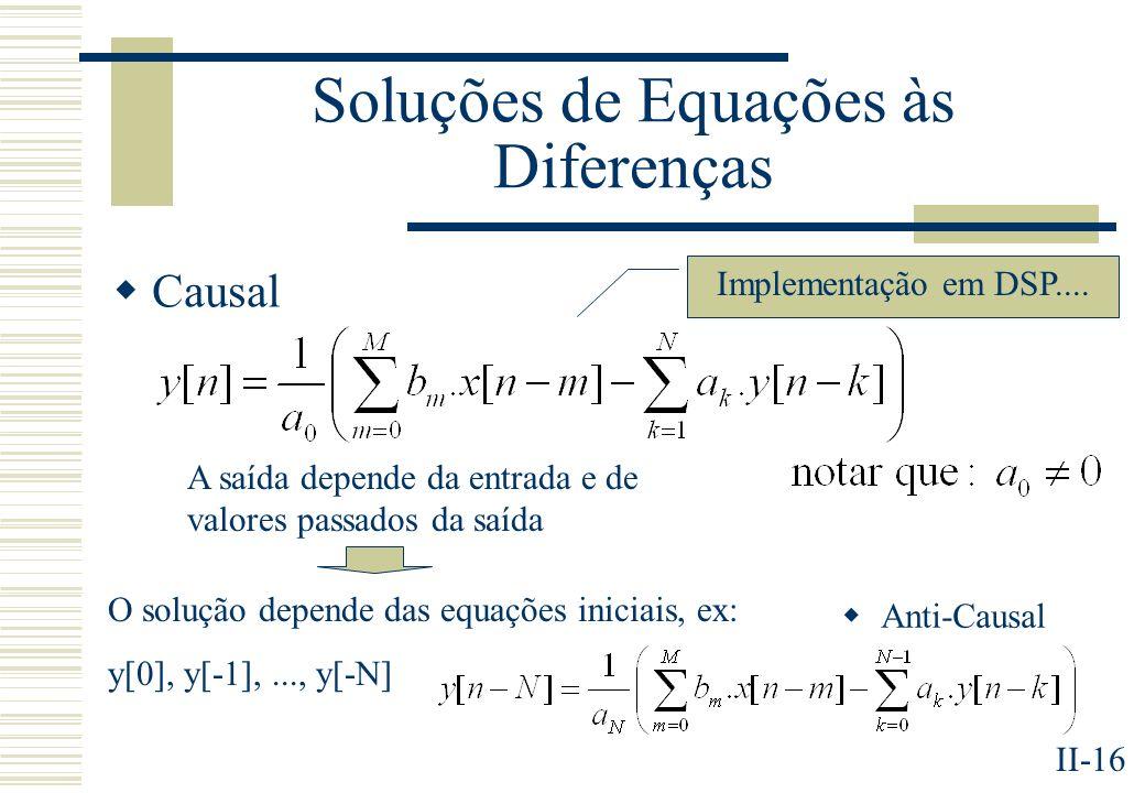 II-16 Soluções de Equações às Diferenças Causal Anti-Causal Implementação em DSP.... A saída depende da entrada e de valores passados da saída O soluç
