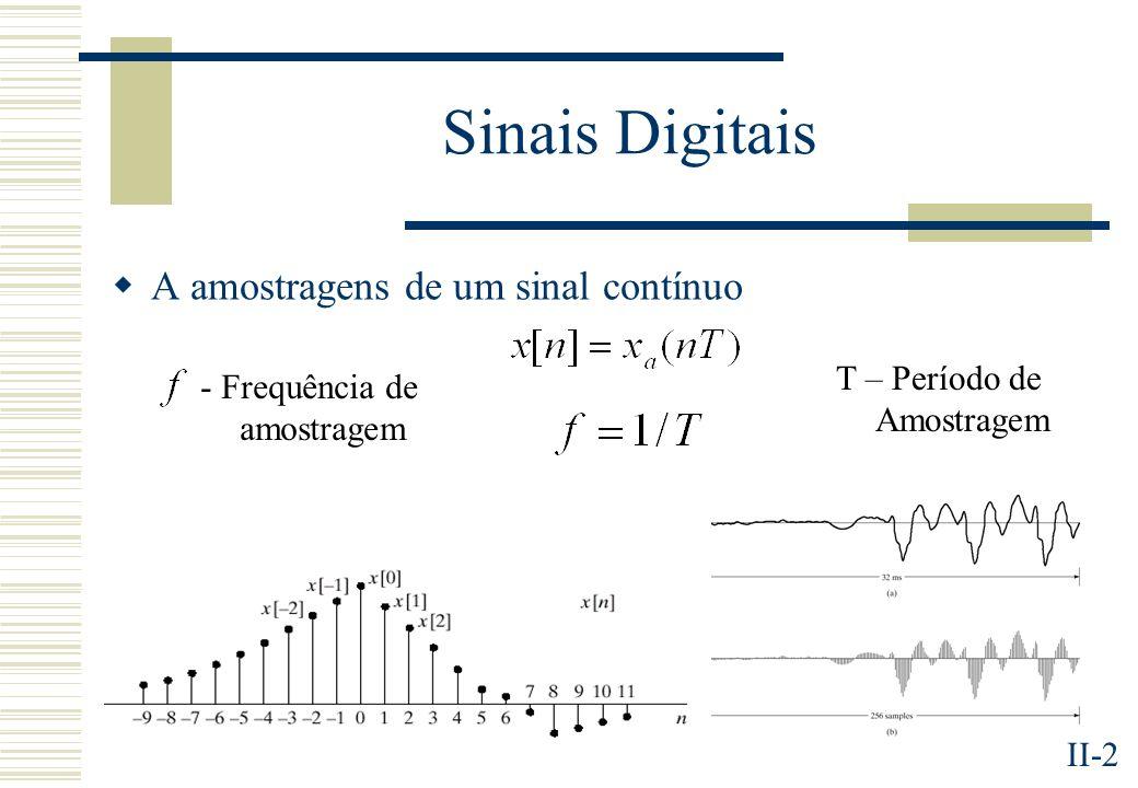 II-2 Sinais Digitais A amostragens de um sinal contínuo T – Período de Amostragem - Frequência de amostragem