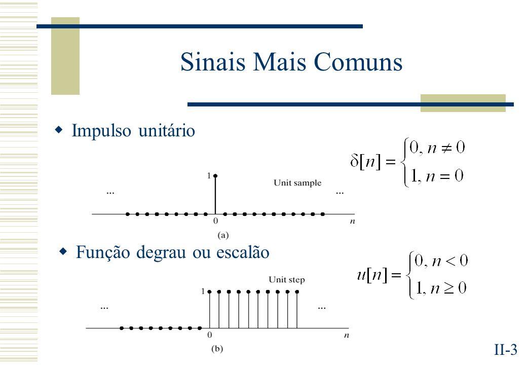 II-14 Alguns Sistemas Simples Acumulador Média Móvel Filtro IIR de 1ª ordem Diferença para traz e para a frente Atraso (d > 0) Avanço (d > 0) Ganho/Atenuação