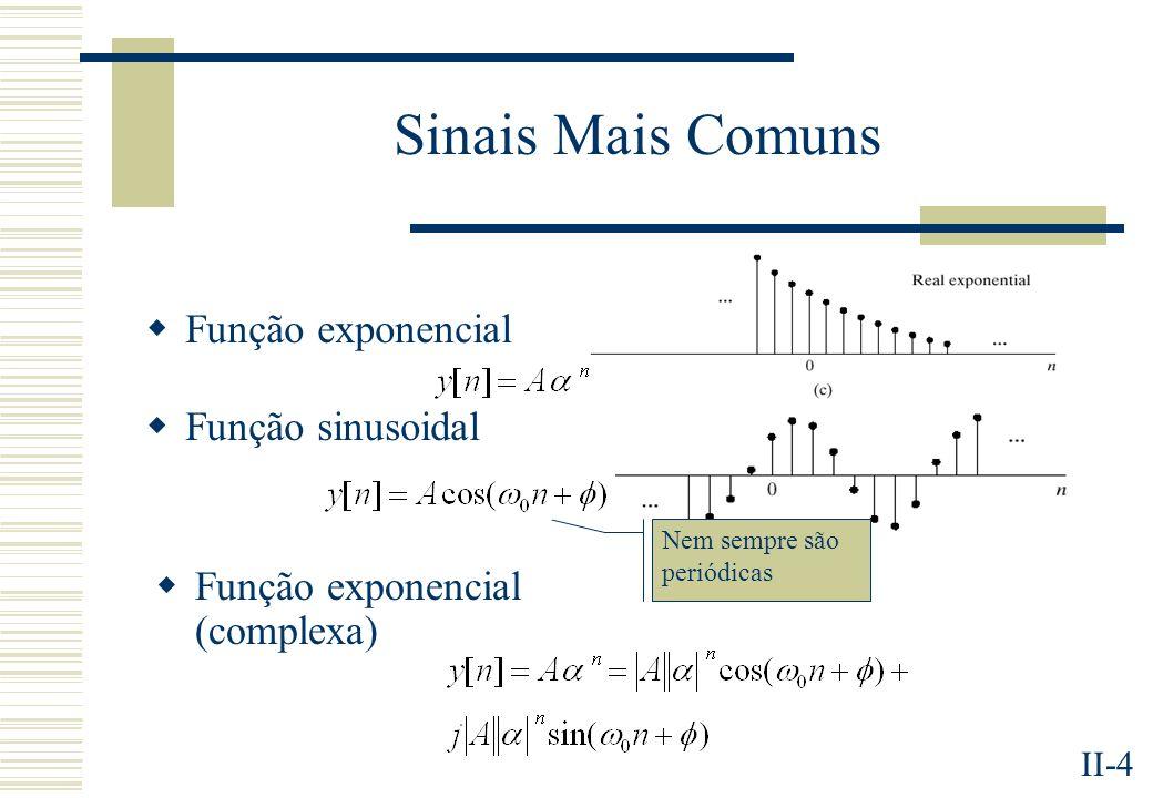 II-15 Sistemas Descritos por Equações às Diferenças de Coeficientes Constantes Uma sub-classe importantes dos SLITS, desde que as condições iniciais sejam nulas.