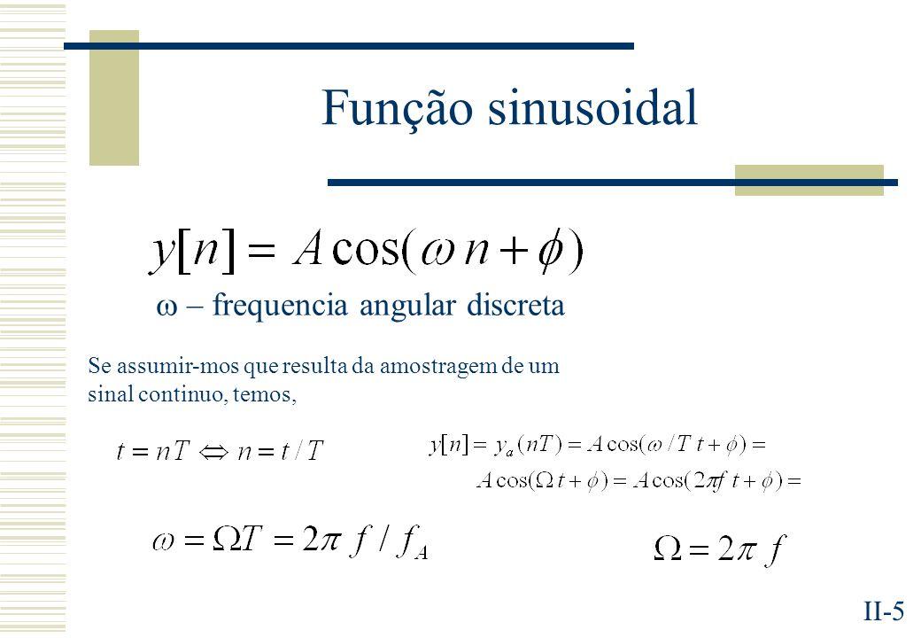 II-5 Função sinusoidal – frequencia angular discreta Se assumir-mos que resulta da amostragem de um sinal continuo, temos,