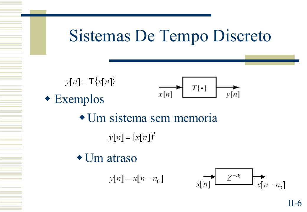II-6 Sistemas De Tempo Discreto Exemplos Um sistema sem memoria Um atraso