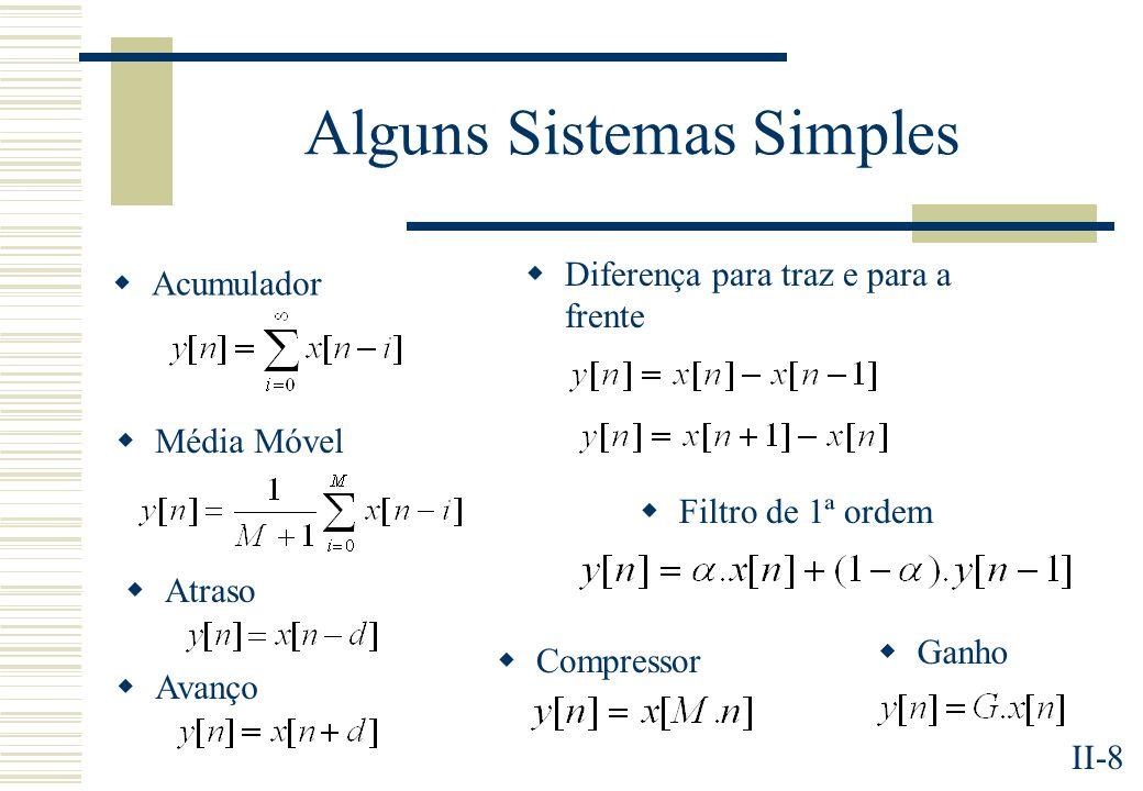 II-9 Sistemas Lineares e Invariantes no Tempo (SLITs) h[n]-Resposta ao Impulso de um sistema linear e invariante no tempo