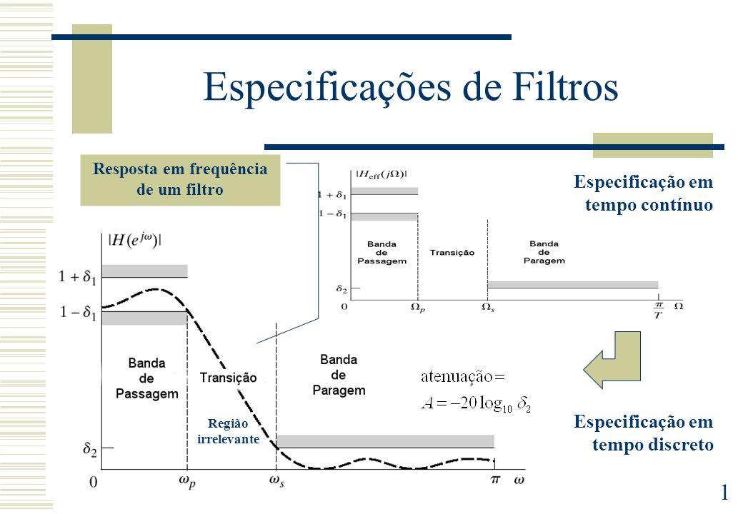 1 Especificações de Filtros Especificação em tempo contínuo Especificação em tempo discreto Resposta em frequência de um filtro Região irrelevante
