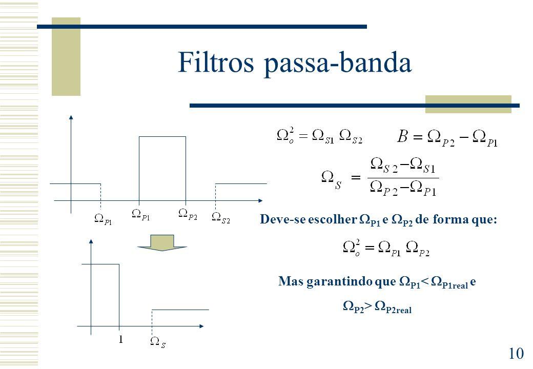 10 Filtros passa-banda Deve-se escolher P1 e P2 de forma que: Mas garantindo que P1 < P1real e P2 > P2real