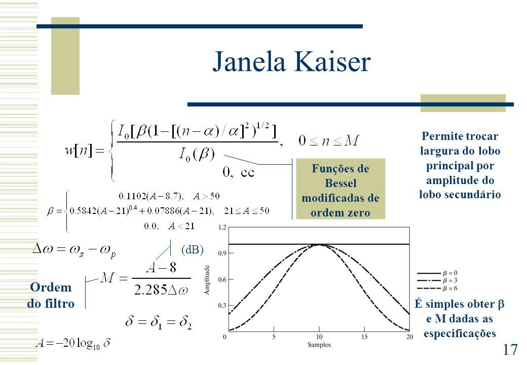17 Janela Kaiser Funções de Bessel modificadas de ordem zero É simples obter e M dadas as especificações Permite trocar largura do lobo principal por