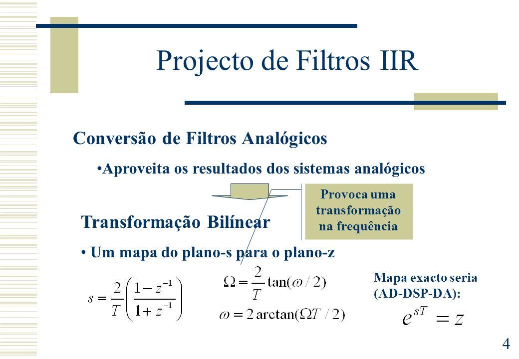 4 Projecto de Filtros IIR Conversão de Filtros Analógicos Aproveita os resultados dos sistemas analógicos Transformação Bilínear Um mapa do plano-s pa