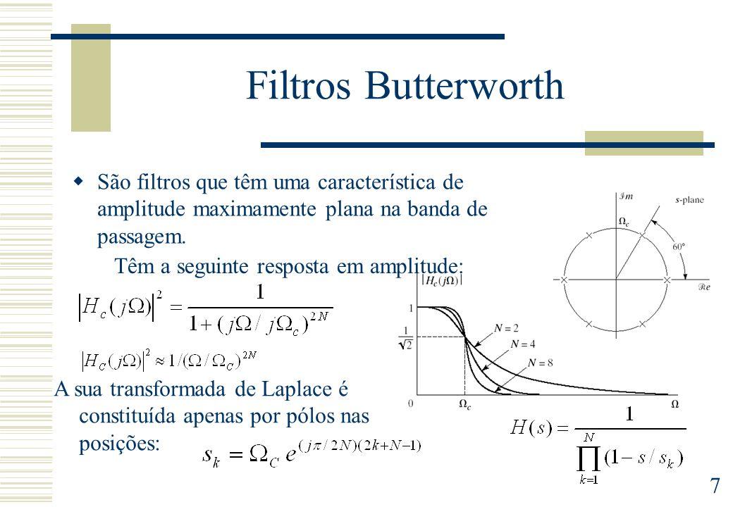 7 Filtros Butterworth São filtros que têm uma característica de amplitude maximamente plana na banda de passagem. Têm a seguinte resposta em amplitude