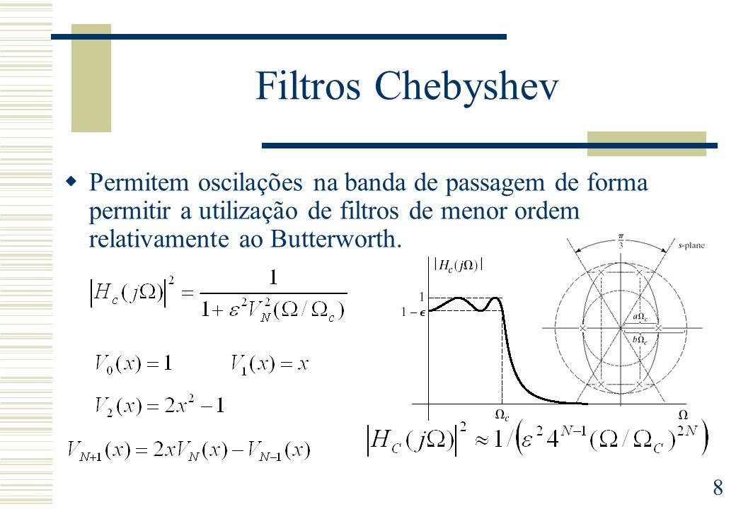 8 Filtros Chebyshev Permitem oscilações na banda de passagem de forma permitir a utilização de filtros de menor ordem relativamente ao Butterworth.