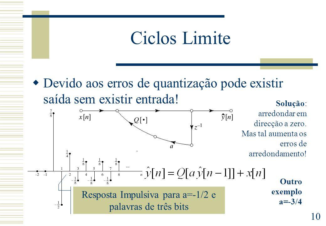 10 Ciclos Limite Devido aos erros de quantização pode existir saída sem existir entrada! Resposta Impulsiva para a=-1/2 e palavras de três bits Soluçã