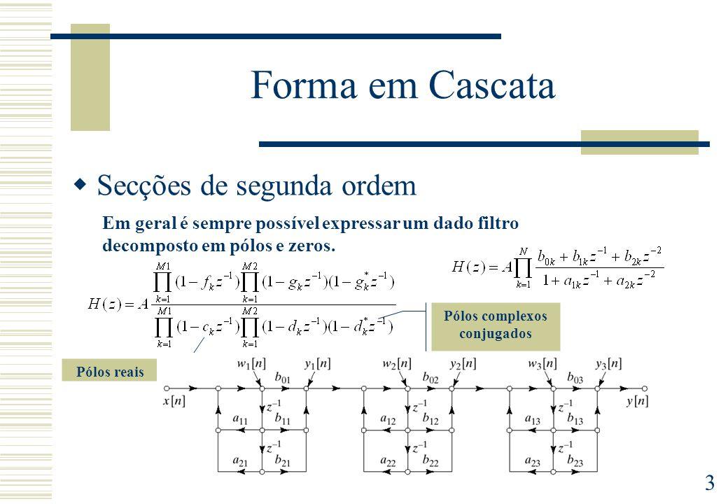 3 Forma em Cascata Secções de segunda ordem Em geral é sempre possível expressar um dado filtro decomposto em pólos e zeros. Pólos reais Pólos complex