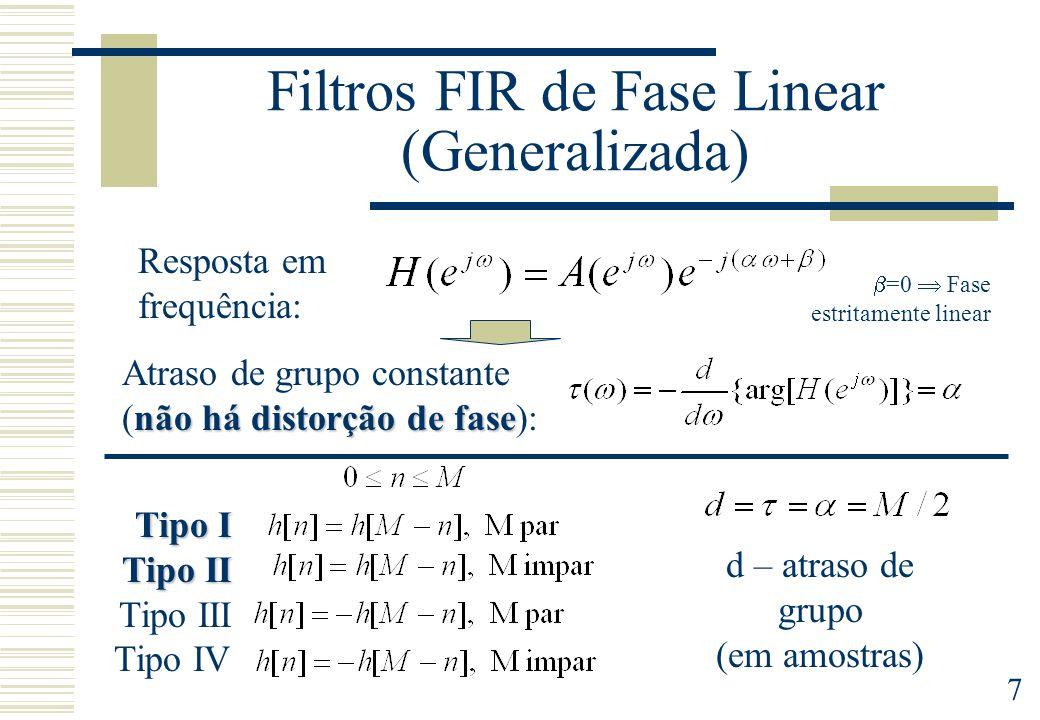 7 Filtros FIR de Fase Linear (Generalizada) Resposta em frequência: não há distorção de fase Atraso de grupo constante (não há distorção de fase): =0