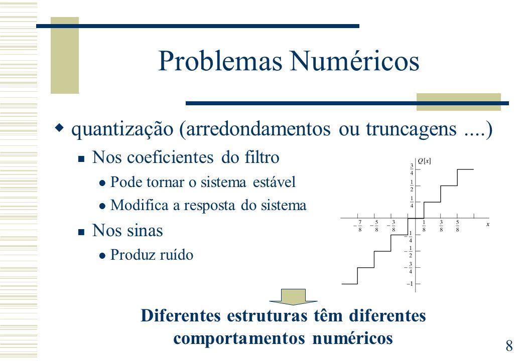 8 Problemas Numéricos quantização (arredondamentos ou truncagens....) Nos coeficientes do filtro Pode tornar o sistema estável Modifica a resposta do