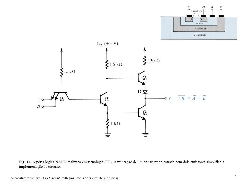 Microelectronic Circuits - Sedra/Smith (resumo sobre circuitos lógicos) 9 Fig. 10 Tensões e correntes no inversor TTL quando a entrada é low.