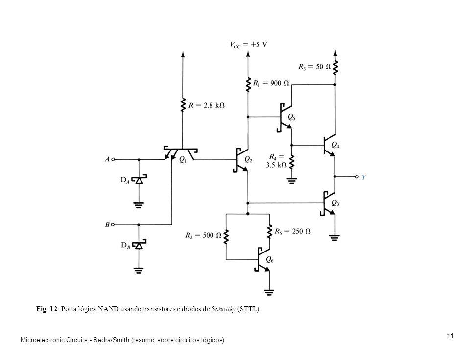 Microelectronic Circuits - Sedra/Smith (resumo sobre circuitos lógicos) 10 Fig. 11 A porta lógica NAND realizada em tecnologia TTL. A utilização de um