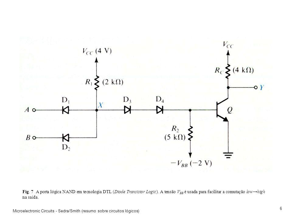 Microelectronic Circuits - Sedra/Smith (resumo sobre circuitos lógicos) 5 Fig. 6 A inserção de um segundo TJB em série no circuito utilizado para impl