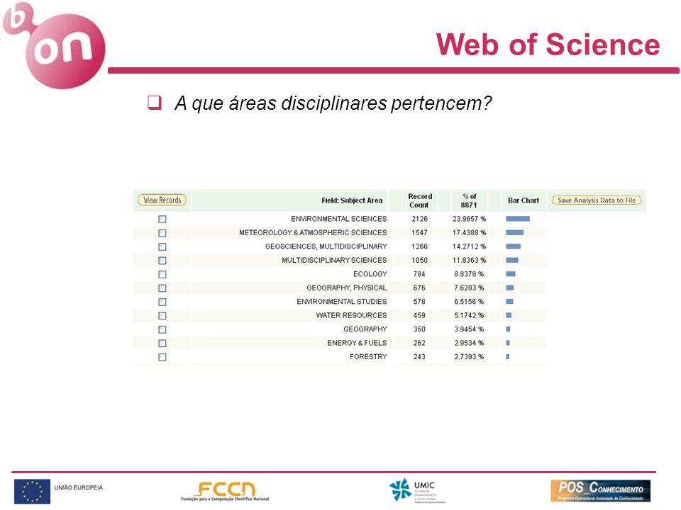 Web of Science A que áreas disciplinares pertencem?