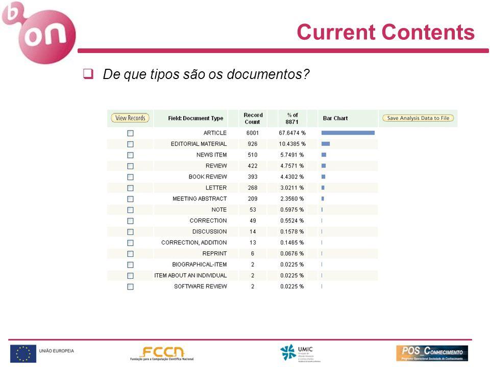 Current Contents De que tipos são os documentos?