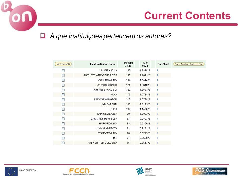 Current Contents A que instituições pertencem os autores?
