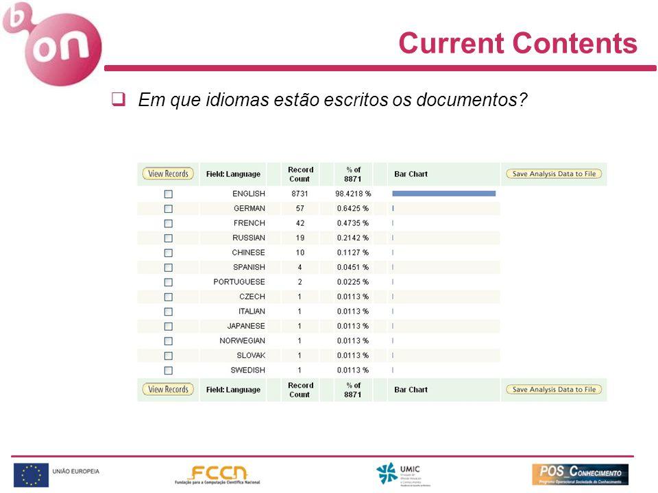 Current Contents Em que idiomas estão escritos os documentos?