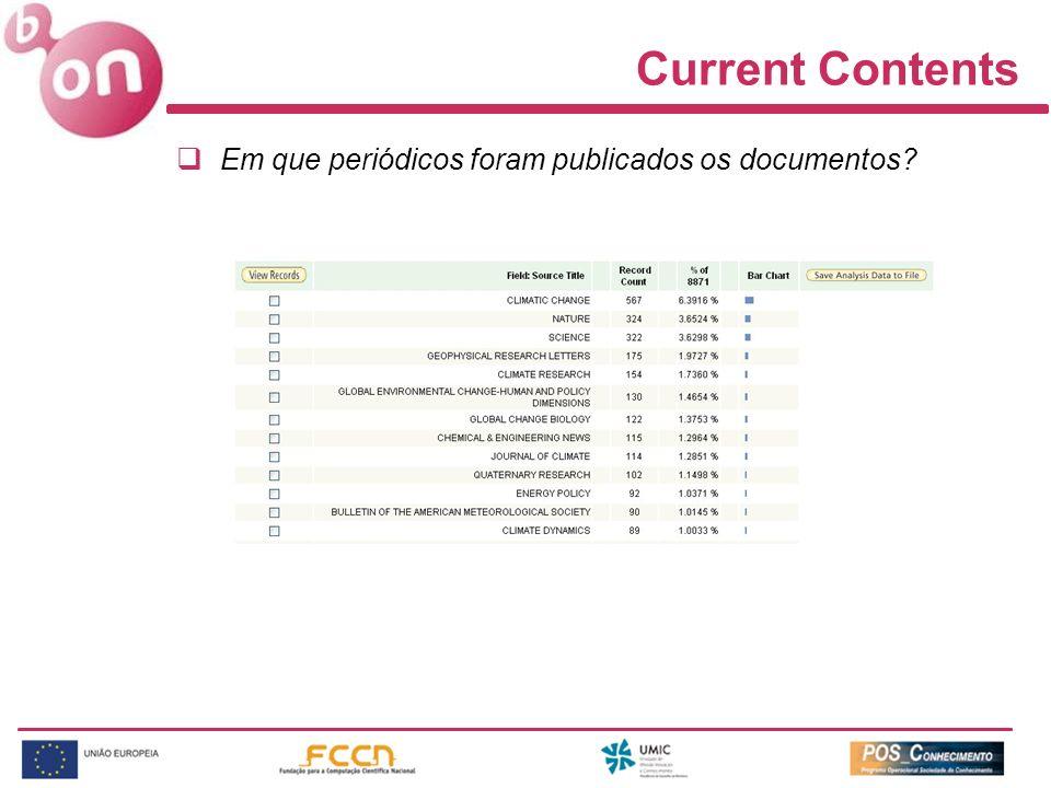 Current Contents Em que periódicos foram publicados os documentos?