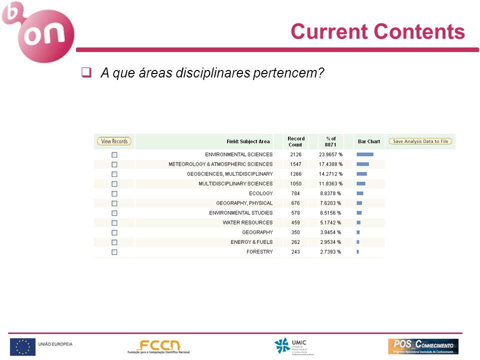 Current Contents A que áreas disciplinares pertencem?