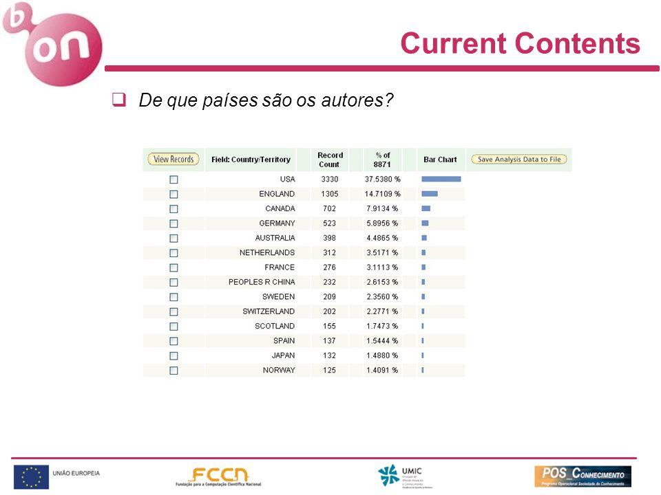 Current Contents De que países são os autores?